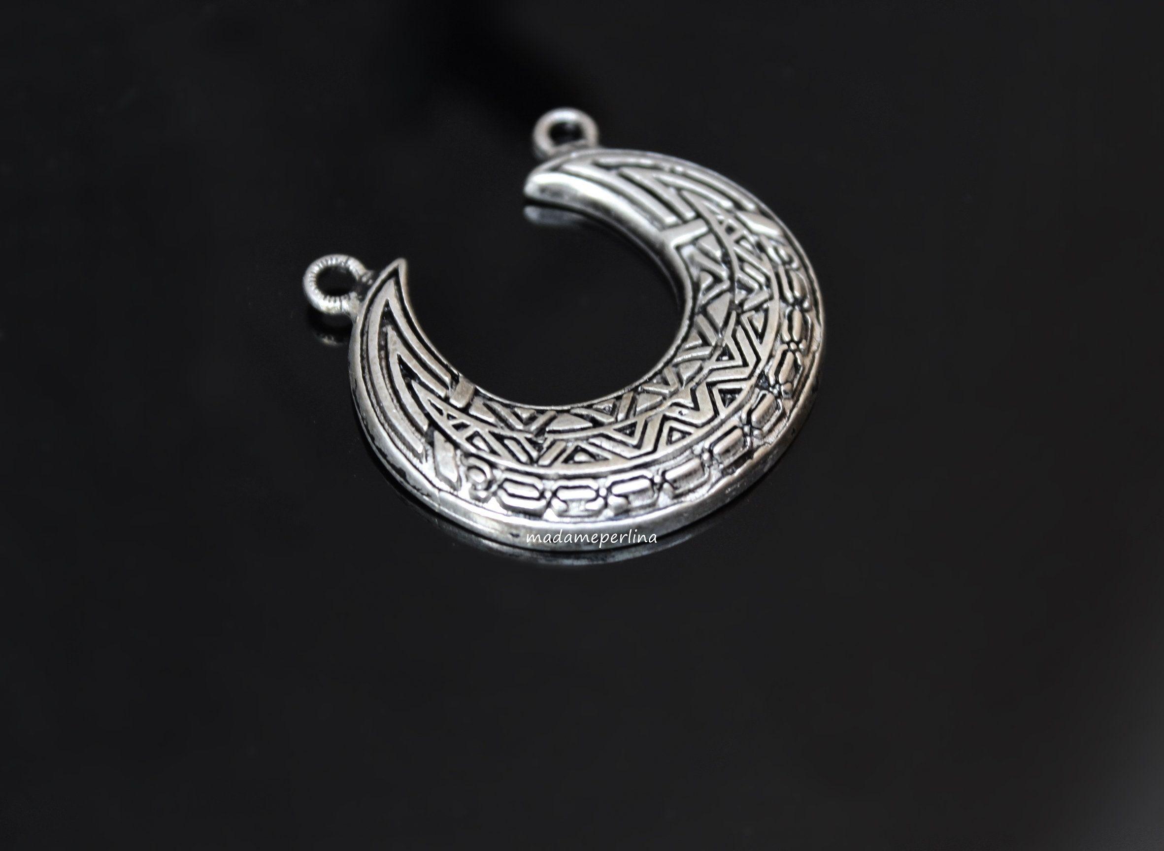 Crescent half moon boho pendant connector