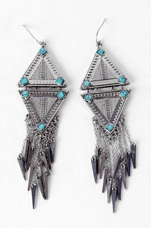 Dagger's Tip Earrings in Sea foam Silver