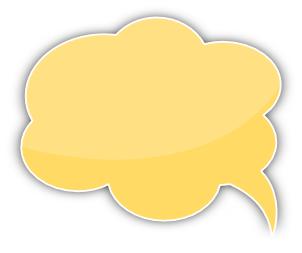 Speech bubble cloud. Yellow left printables clip