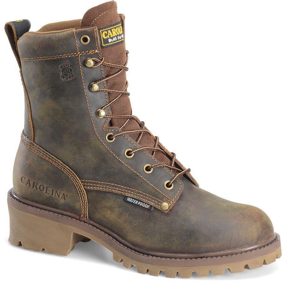 Black Carolina Mens Leather Boots 8 Inch Logger Wp St