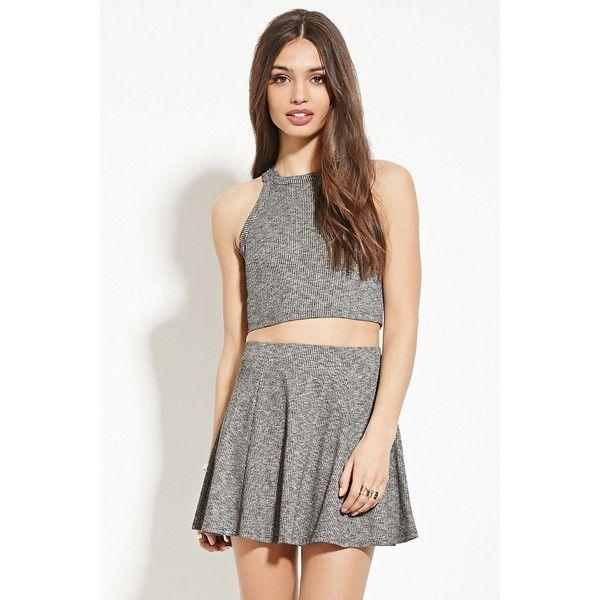Forever 21 Women's  Marled Knit Skater Skirt ($11) ❤ liked on Polyvore featuring skirts, white flared skirt, white knit skirt, elastic waist skirt, full length circle skirt and white circle skirt