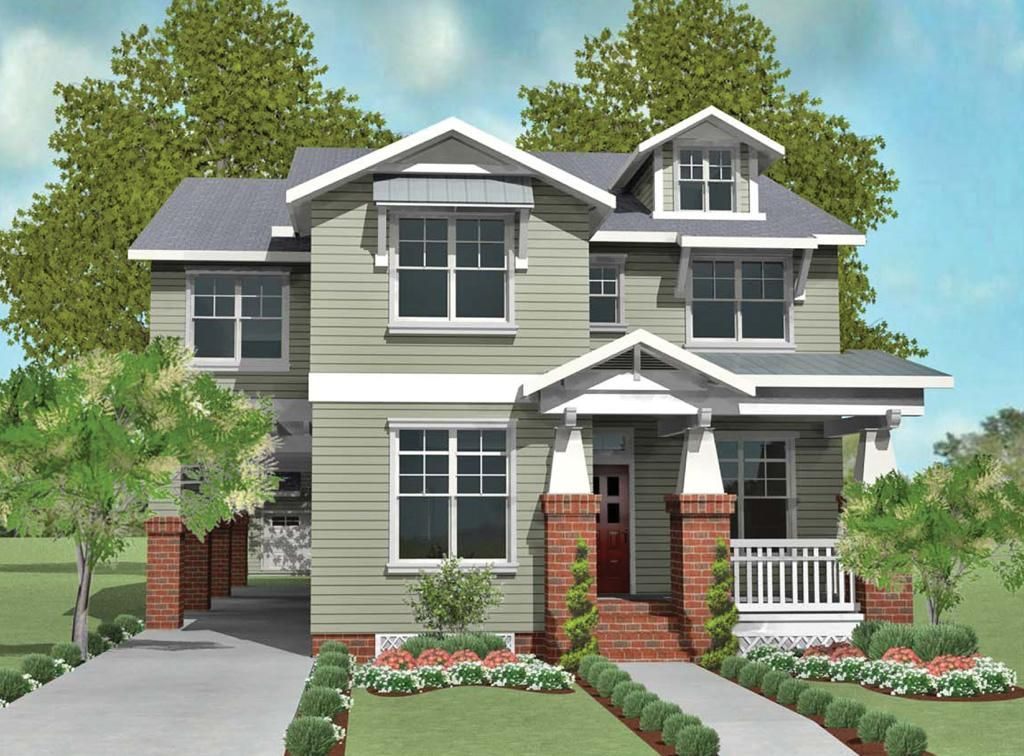 narrow house plan, porte cochere | Home inspiration | Pinterest