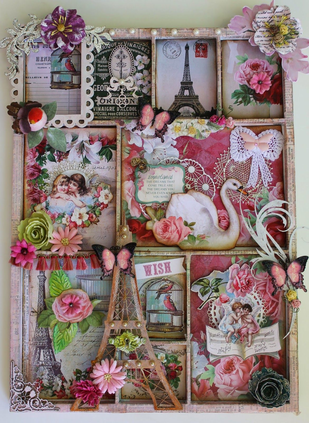 A creative team project for Ephemera's Vintage Garden.  This Memory Tray features the digital paper kit called Paris in my Heart.  Also features chipboard shapes by Gina's Designs and butterflies by Renea Bouquets