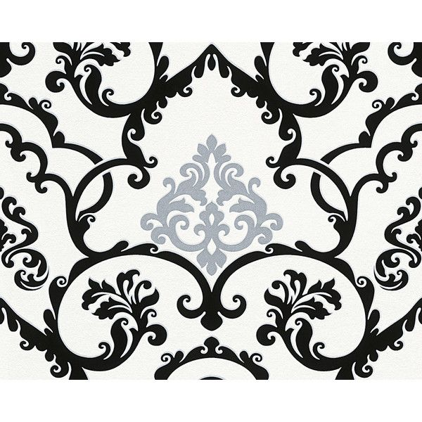 Sample Classical Baroque Wallpaper In Black White And Metallic 10 Liked On Polyvore Featuring Home Decor Bird