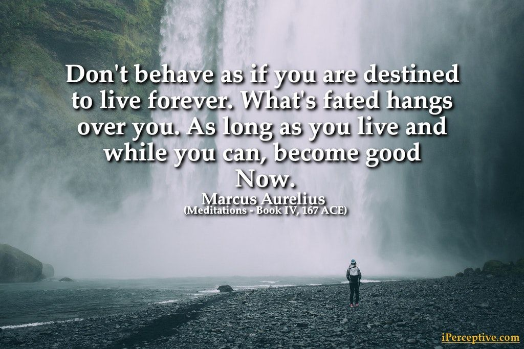 Marcus Aurelius Stoic Quote Don T Behave As If You Are Destined To Live Forever What S Fated Han Stoicism Quotes Meditation Books Marcus Aurelius Meditations