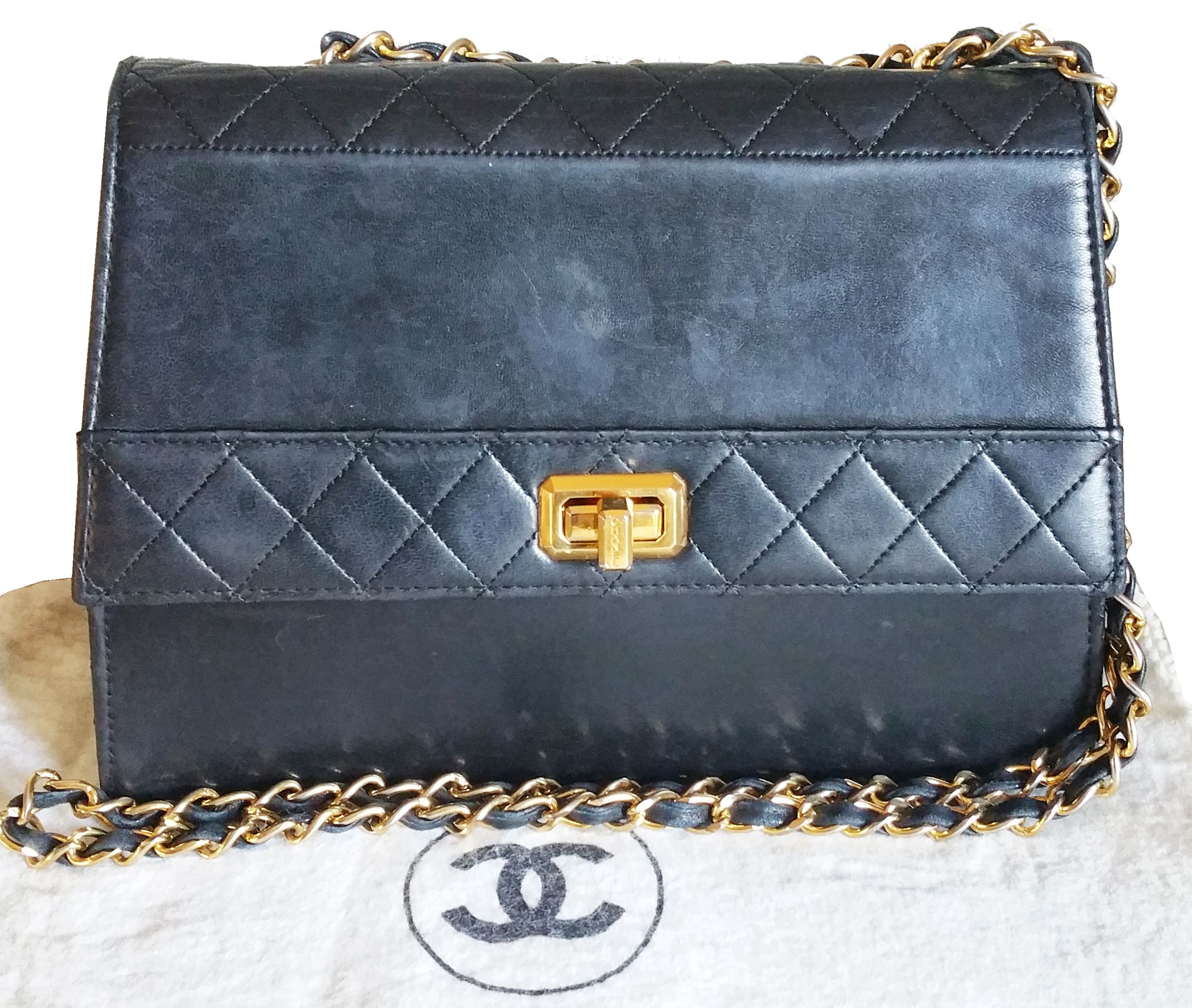 70f457cd5e10 SOLD Authentic Vintage Rare Chanel Lambskin Quilted Chain Bag * 158xxxx *  Made in France * Comes with dustbag -Approximately 9