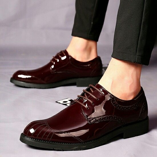 US  28 New Arrival Retro Men Business Shoes Shiny Patent Leather Pointed  Toe Dress Shoes Mens Wedding Calcados Black Red Burgundy 1173f42f8ea8