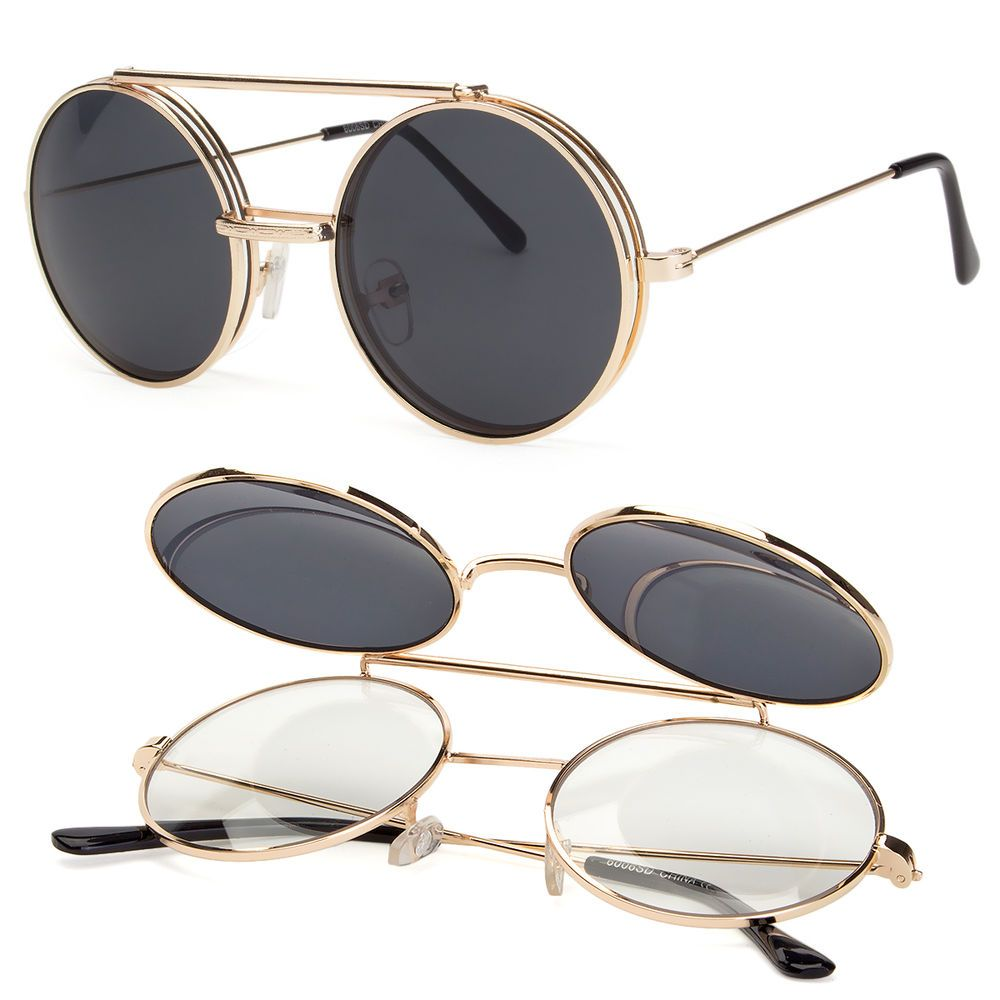 Cool Flip Up Lens Steampunk Vintage Retro Style Round Sunglasses Color Lens Gold
