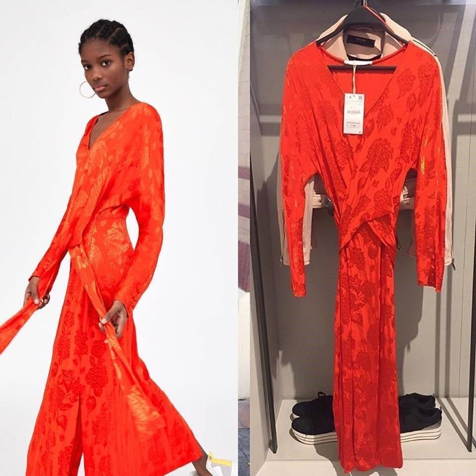 d660003b NWT ZARA Red Jacquard Long Sleeve Midi Dress Size SIZE S Ref.8342/107 #ZARA  #Maxi #Casual