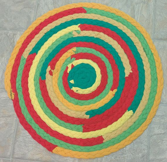 Braid Rug Green Red Yellow Upcycled Tshirt Kitchen Braided Rasta Colors Table Handmade Recycled