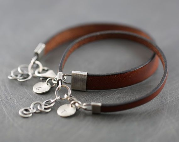 Two Matching Handmade Personalized Brown Leather Bracelets With Sterling Silver Clasp Jewelry Gift For Him And Her