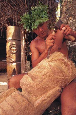 Man Carving Tiki