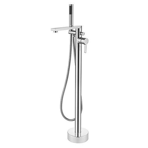 Wowkk Tub Filler Freestanding Bathtub Faucet Chrome Floor Mount
