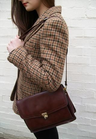 1970's leather satchel bag