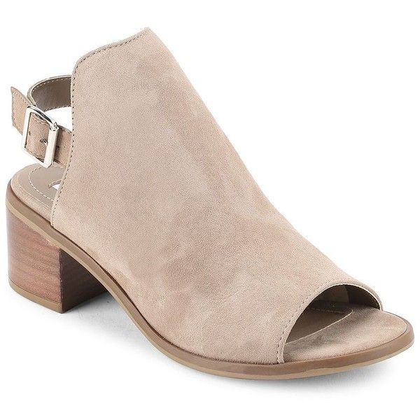 Steve Madden Pailey Suede Open Toe Booties (1,175 MXN) ❤ liked on Polyvore  featuring
