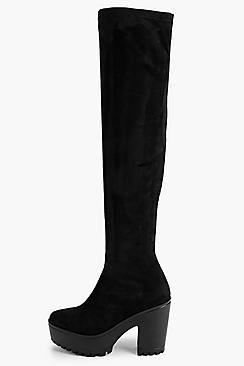 Laura Over The Knee Block Heel Cleated Boot