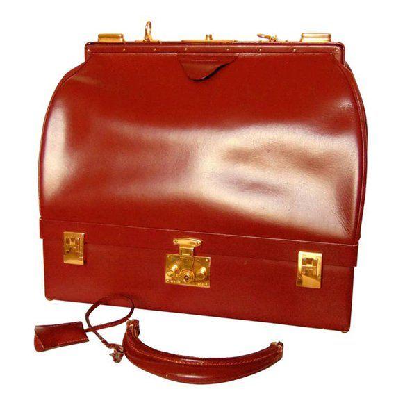 Hermes Sac Mallette Bag Jewelry Box Travel Case Cordovan Box Leather 70s  Vintage d073e7a838bda