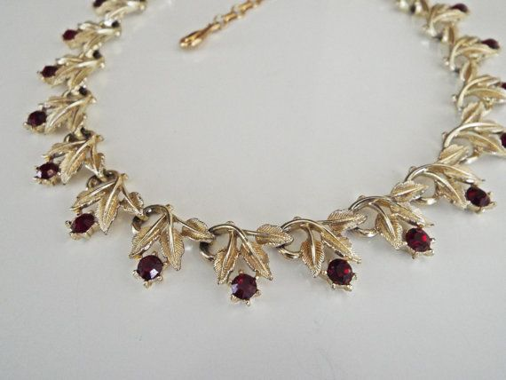 Beautiful old coro necklace with Deep red stones by EyeMusic