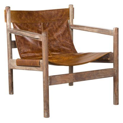 Tobacco Water Buffalo Leather And Wood Sling Chair Accent Chairs At Hayneedle Leather Sling Chair Sling Chair Chair