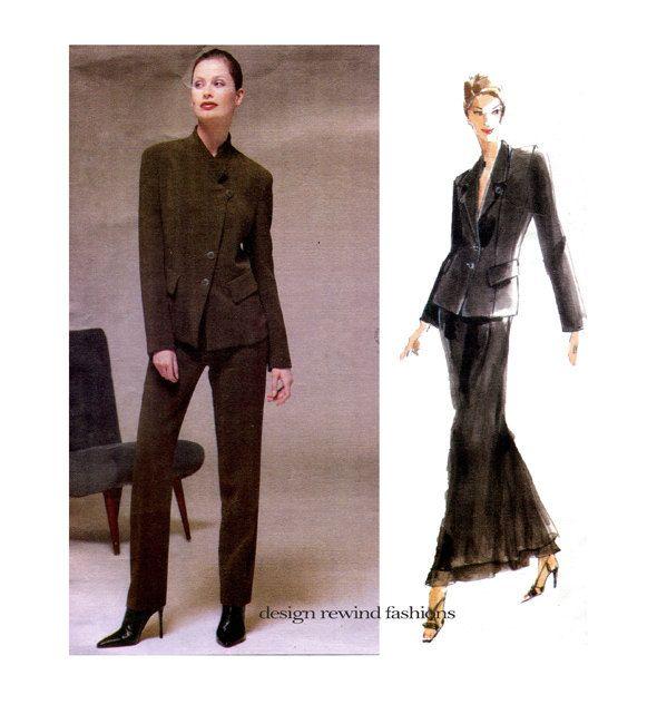Vogue 2165 JACKET PANTS SKIRT Pantsuit Pattern Donna Karan Vogue ...