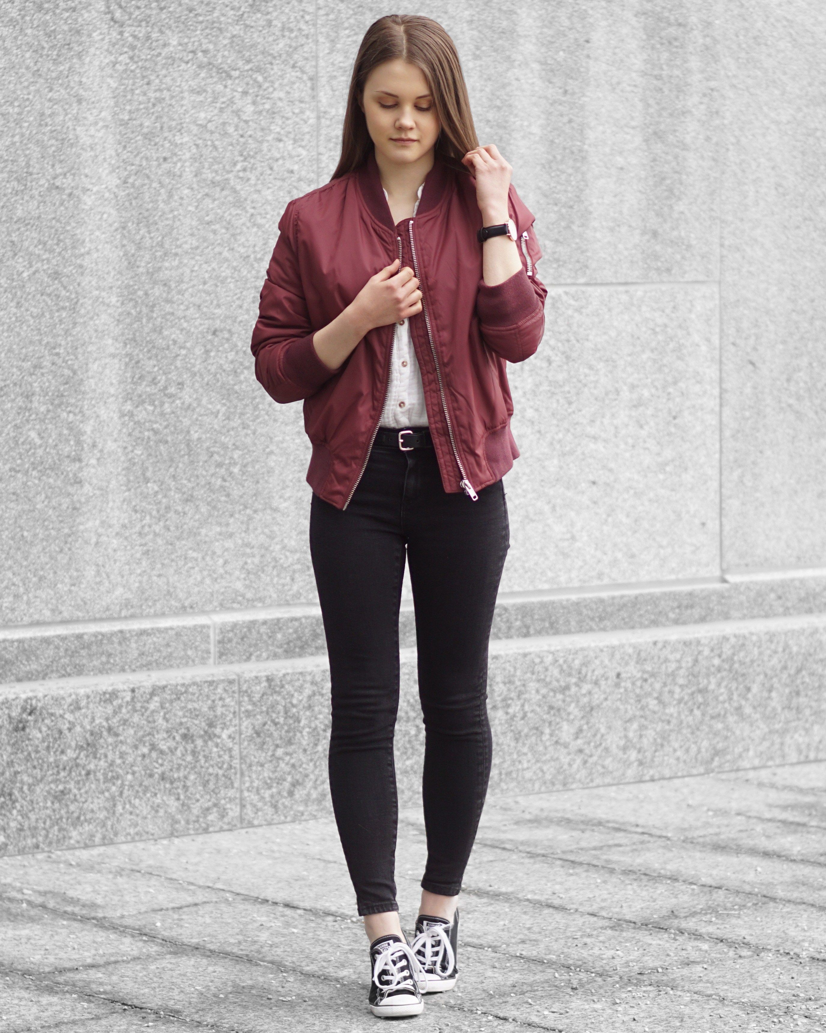 newest 97a09 0572a A Little Detail - Rut   Circle Burgundy Bomber Jacket    White Button Up     Black Skinny Jeans    Converse Sneakers     outfit  springfashion   fallfashion ...