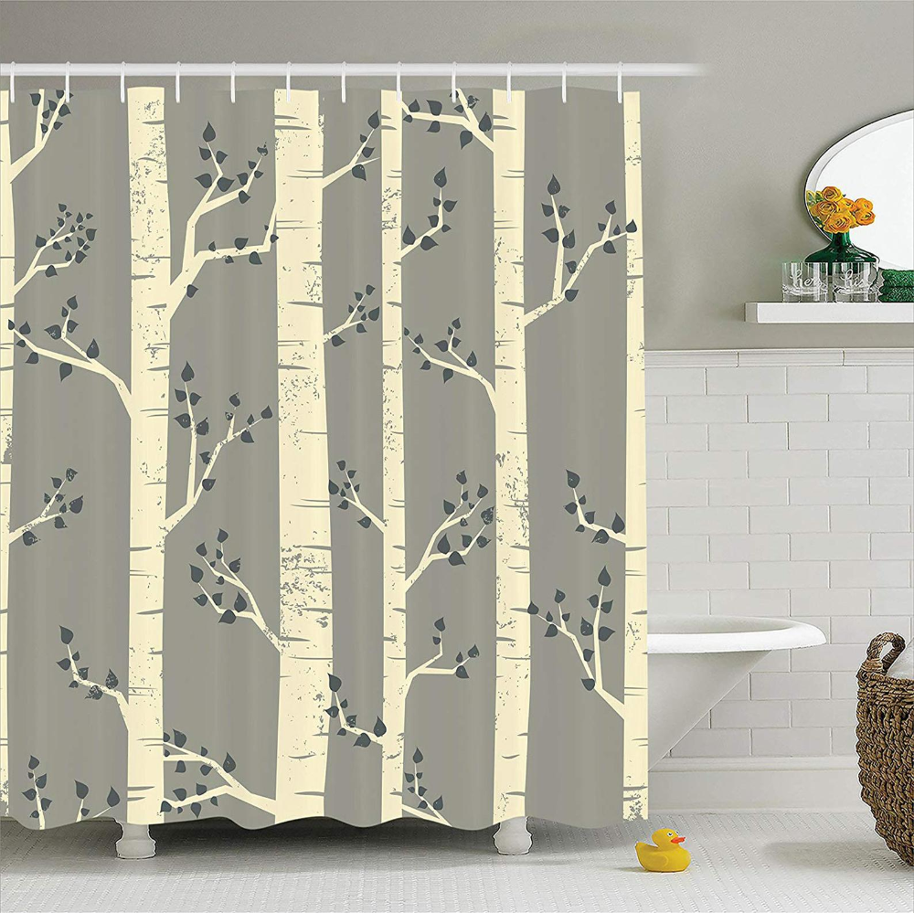 Grey Shower Curtain Birch Tree Branches Vintage Bohemian
