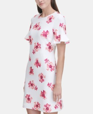 11b949975f0 Tommy Hilfiger Floral Bell-Sleeve Scuba Dress - Ivory/Hot Pink in ...