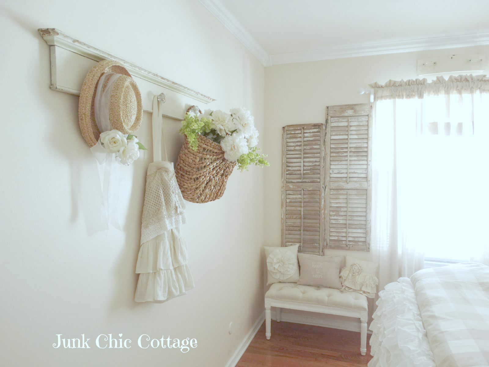 Junk Chic Cottage Love The Long Chippy Coat Hanger