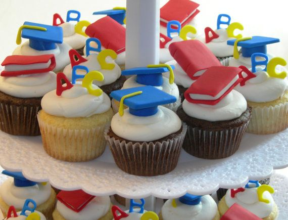 preschool and kindergarten gradutaion cupcake toppers assortment 1 dozen backen muffins. Black Bedroom Furniture Sets. Home Design Ideas