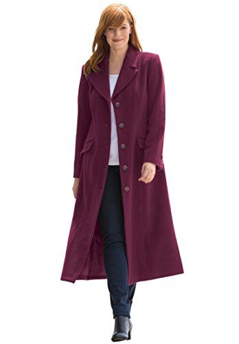 a28fe87cfb6c9 PSD Jessica London Women s Plus Size Long Wool-Blend Coat With Notch Collar