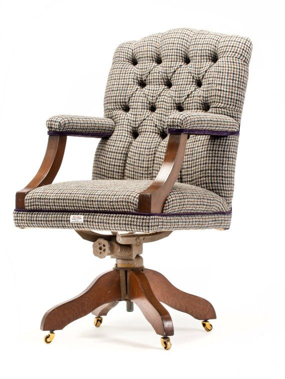 Delightful Retro Office Chair Recovered In Traditional Harris