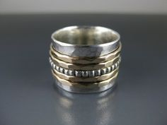 Silver Spinner Ring with Five Spinners by formandfunktion on Etsy, $123.00