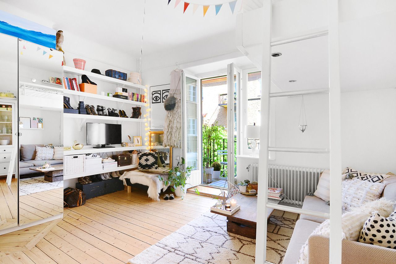 Studio Apartment With Loft Bed Small Space Pinterest