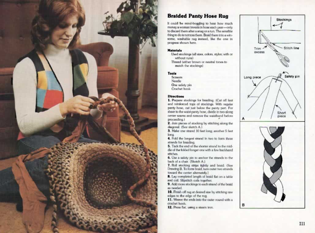 Pantyhose craft rug