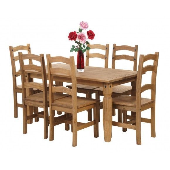 Premium Corona Mexican Pine  Dining Table And 6 Chairs  Dining Cool Pine Dining Room Table And Chairs Review