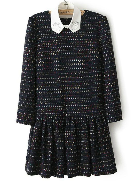 5f4eed7db64 Navy Long Sleeve Striped Floral Pleated Dress GBP£27.33
