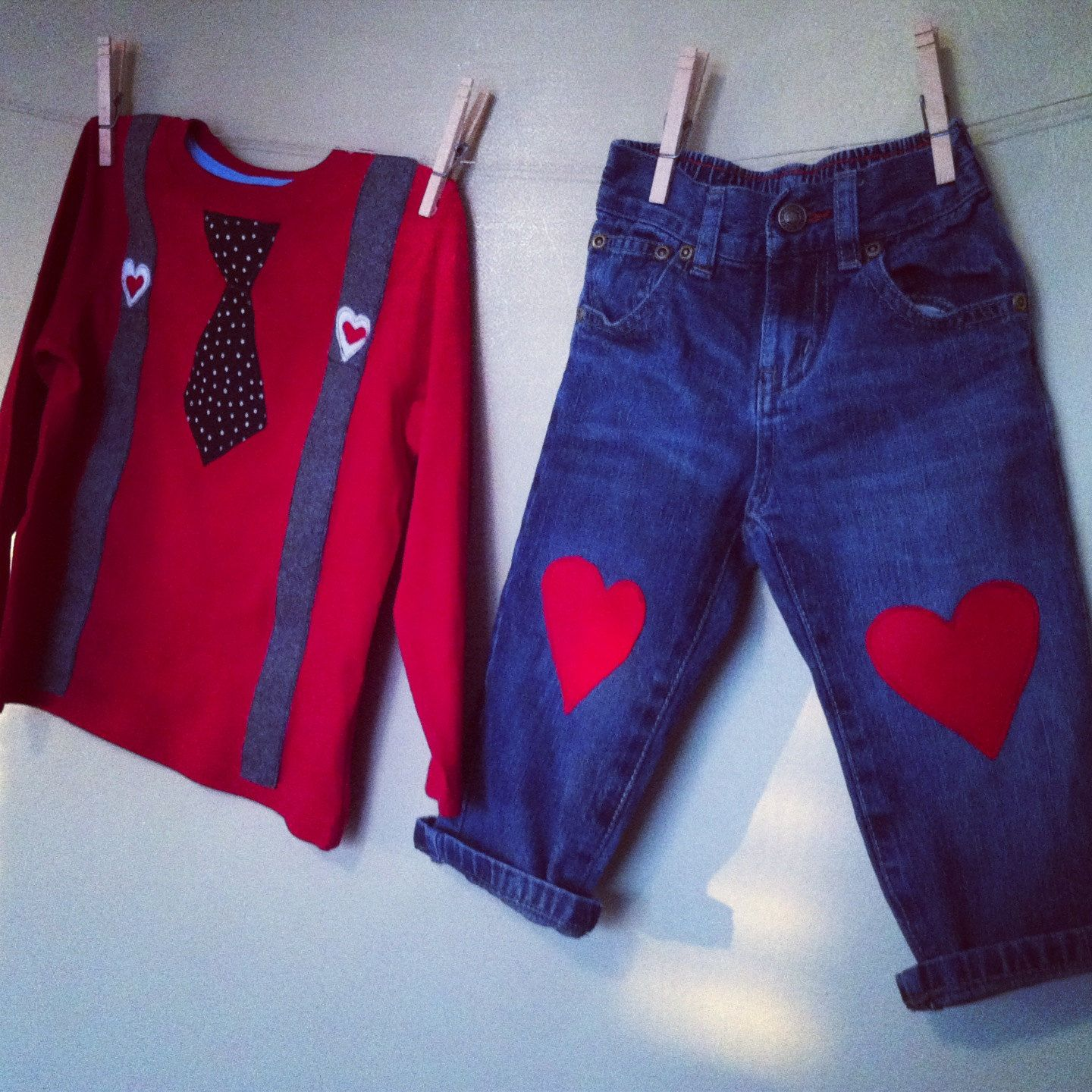 Valentine's Day Suspender/Tie Heart Jeans Outfit Infant sz. 0-3 through 24 mo. $36.00, via Etsy.