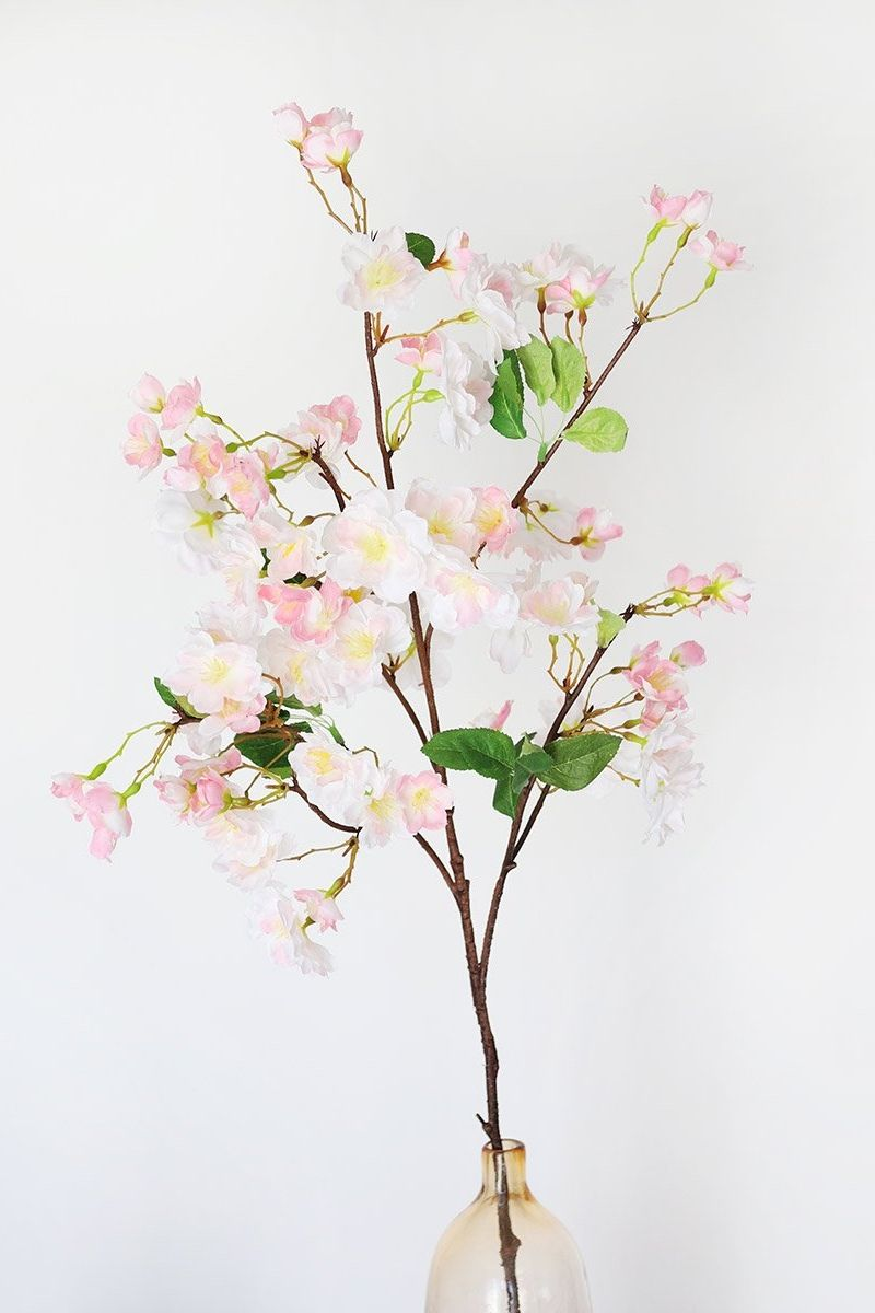 Pastel Pink Fake Cherry Blossom Branch 41 In 2020 White Cherry Blossom Artificial Flowers Wedding Flower Decorations
