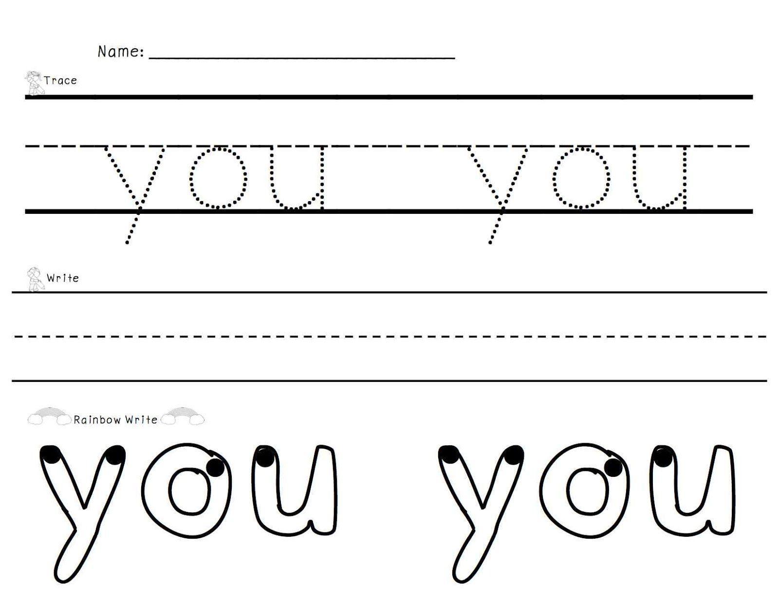 Sight Words Trace Write Rainbow Write