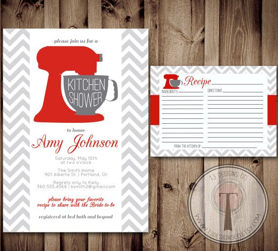 Kitchen Shower Invitation And Recipe Card Kitchen Shower Bridal Shower Wedding Showering Invitation Invite Recipe Card Kitchenaid