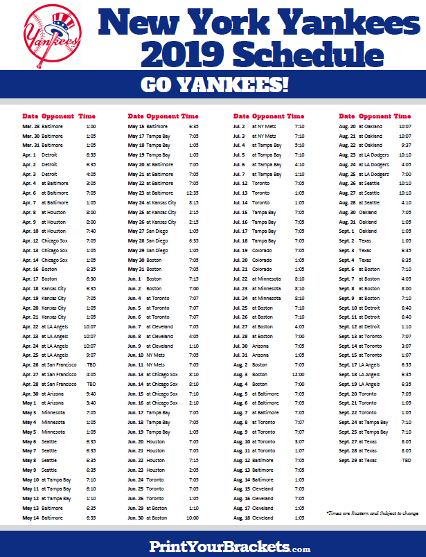 Ny Yankees 2019 Schedule Printable 2019 New York Yankees Schedule   Printable MLB Schedules