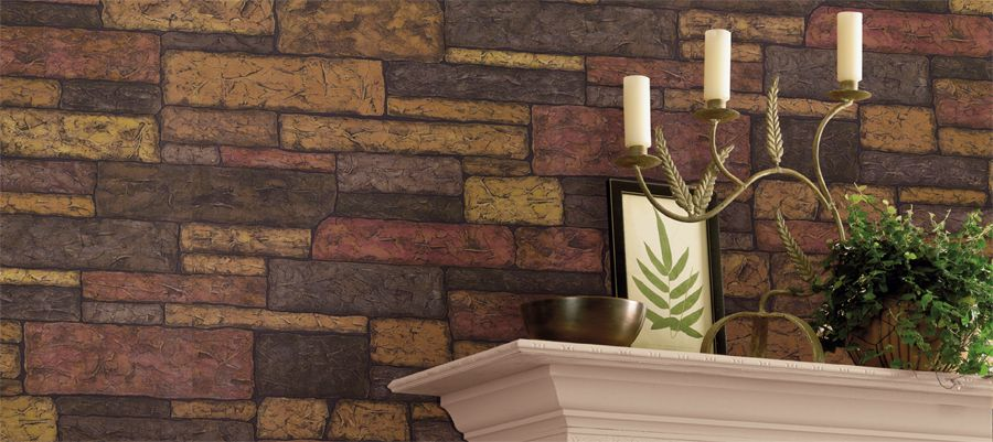 Wallcoverings For Less Faux Stone Brick And Wood Wallpaper Wood Wallpaper Faux Stone Stone Wallpaper