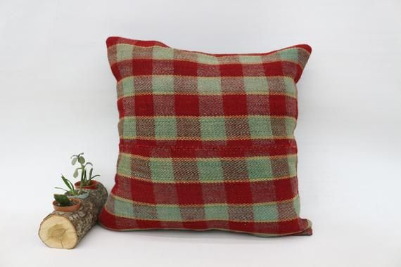 Kilim Pillow 20x20, Couch Pillow, Red Pillow, Large Pillow, Striped Pillow, Vintage Pillow, Ottoman,