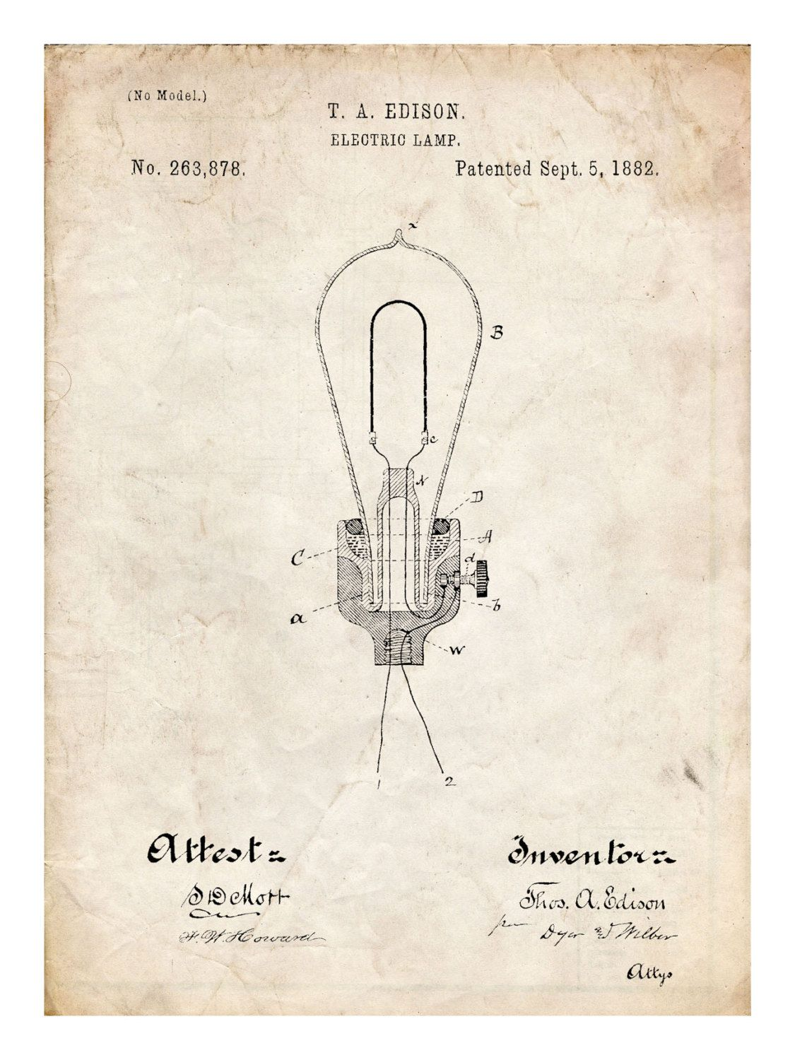 Edison Light Bulb Invention Poster 18x24 Handmade Gicle Gallery Schematic Thomas Electric Lamp 1882 By Stevesposterstore 995