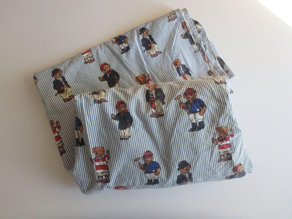 5 Pc Ralph Lauren Home Polo Bear Full Sheet Set Pillowcases