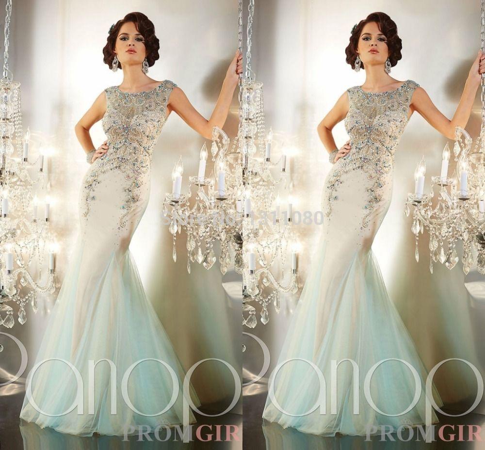 Shining crystal mermaid floor length scalloped sleeveless