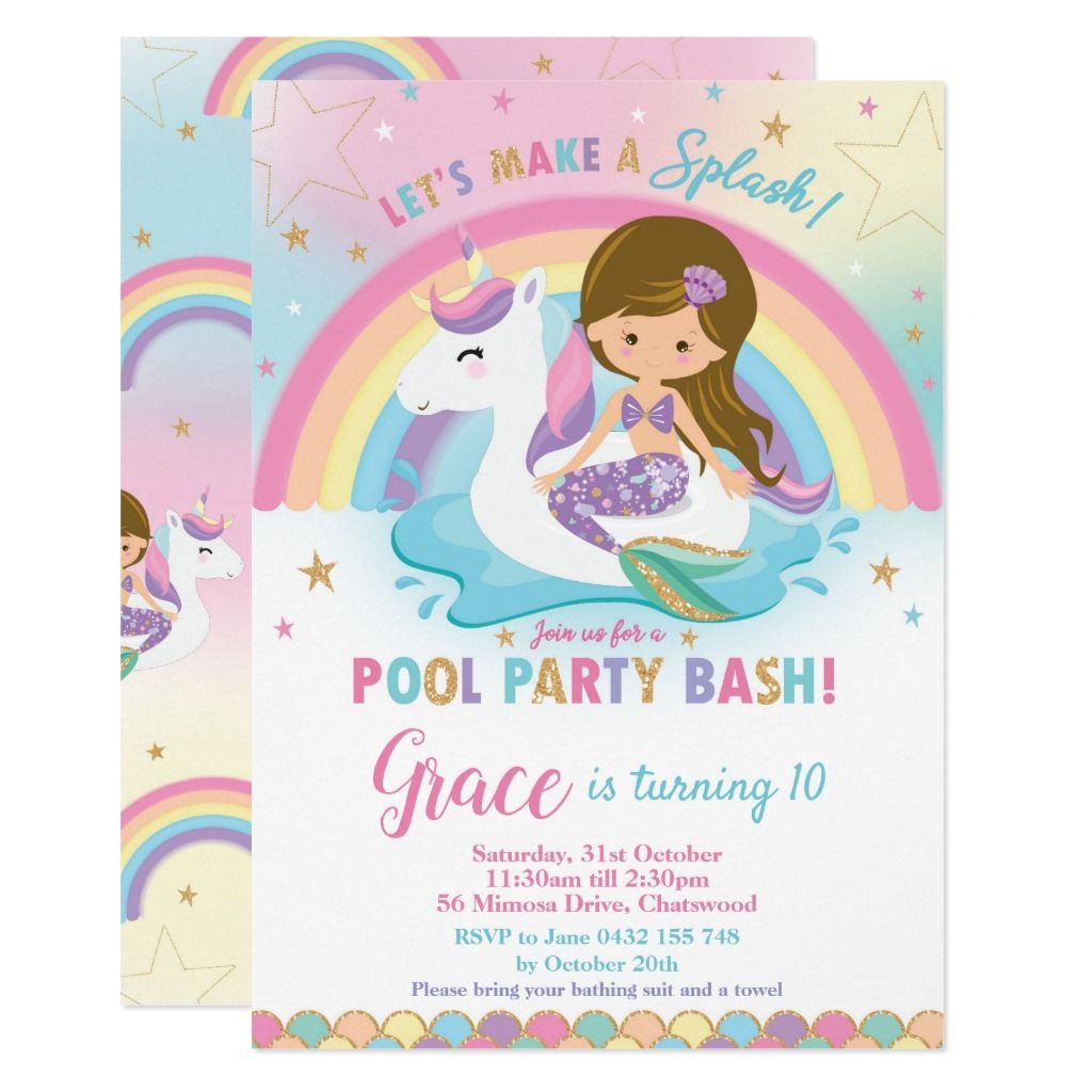 Mermaid Unicorn Pool Party Birthday Invitations   Zazzle com - Unicorn pool party, Pool birthday party, Pool party birthday invitations, Pool party invitations, Unicorn birthday invitations, Birthday invitations - Mermaid and Unicorn Pool Party Invitation, featuring a cute unicorn floatie and a pretty mermaid   Personalize this awesome Pool Party Invitation with your party details easily and quickly, simply press the customize it button to further rearrange and format the style and placement of the text   Exclusive design (c) The Happy Cat Studio