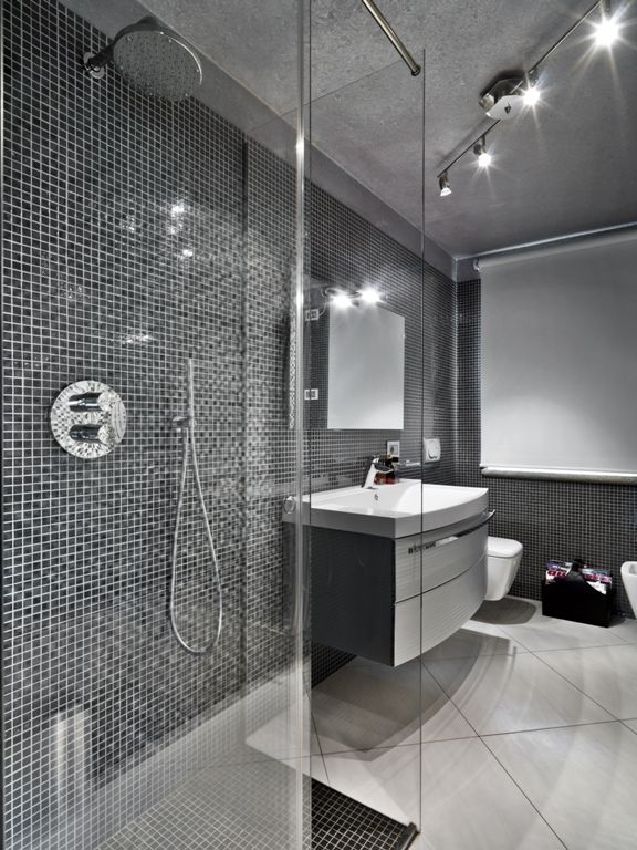 Black Mosaic Feature Wall In Bathroom Bathroom Cleaning Hacks Corporate Interior Design Shower Cleaner