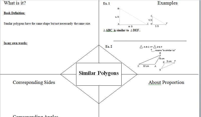Similar polygons Frayer model/graphic organizer.   teaching math ...