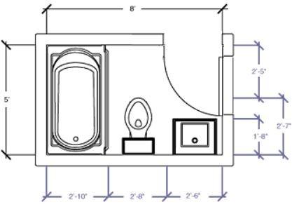 5x7 full bath too small? in 2020   bathroom layout, small